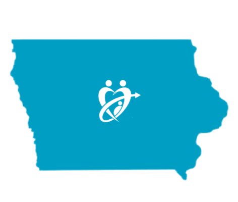 Iowa state with adopt connect logo