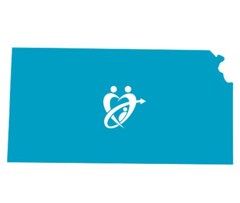 Kansas state with adopt connect logo