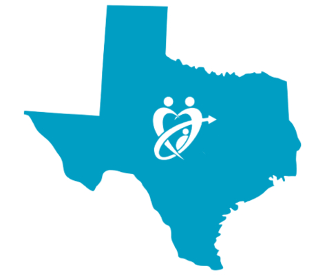 Texas state with adopt connect logo