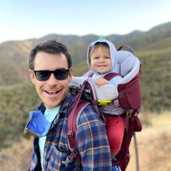 ryan hiking with baby on back